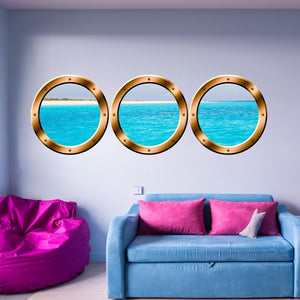 VWAQ Cruise Ship Porthole Wall Stickers - Peel And Stick Window Decals, 3D Ocean Wall Art - SPW24 - VWAQ Vinyl Wall Art Quotes and Prints