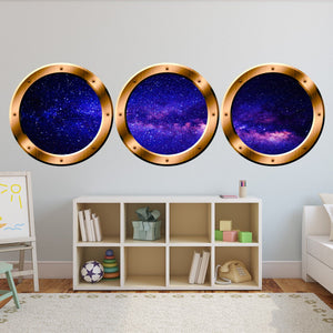 Spaceship Window Wall Decals For Kids Rooms, Outer Space Window Galaxy Wall Stickers