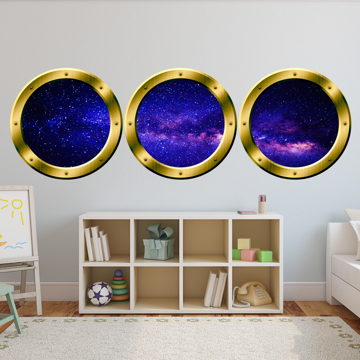 Full Colour Spaceship Space Window Wall Art Sticker Decal Boys Bedroom WSD289