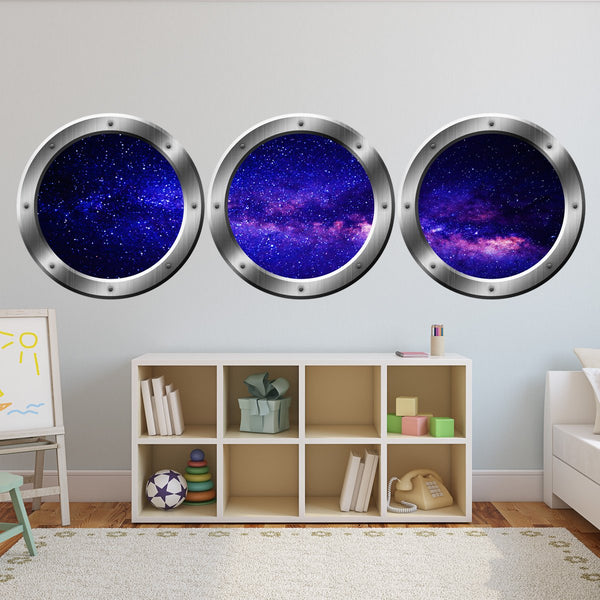 VWAQ Spaceship Window Wall Decals For Kids Rooms, Outer Space Window Galaxy Wall Stickers - VWAQ Vinyl Wall Art Quotes and Prints