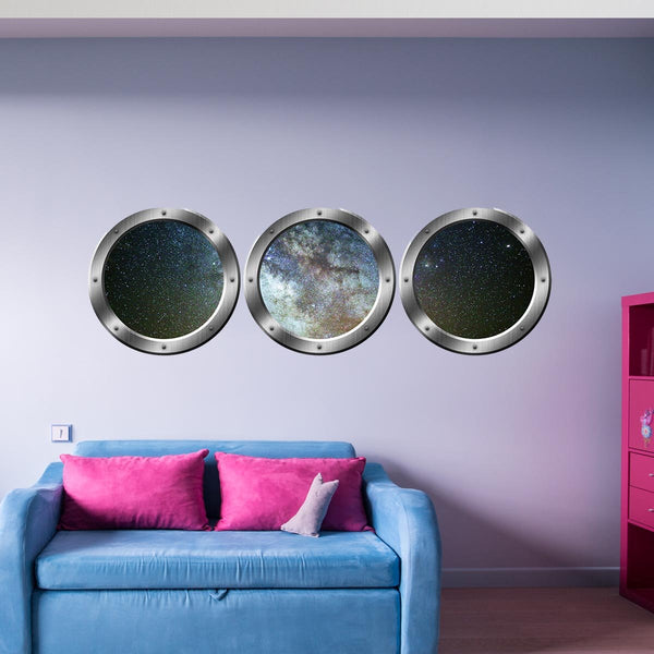 VWAQ Galaxy Porthole, 3D Space Window Wall Stickers, Space Ship Window View Decals - SPW29 - VWAQ Vinyl Wall Art Quotes and Prints