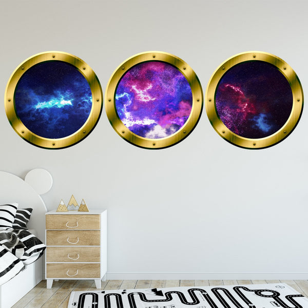 VWAQ Spaceship Window Wall Stickers, 3D Space Window Decals, Outer Space Vinyl - SPW30