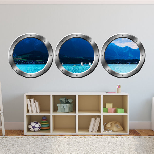 VWAQ Ship Porthole Windows Ocean View Marina with Sailboats - SPW3 no background