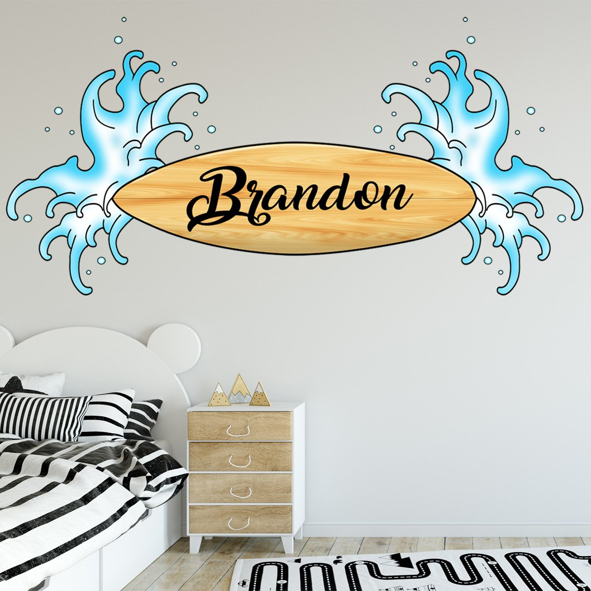 VWAQ Surfer Decal with Name Custom Surfboard Wall Stickers Personalized for Kids - SU01-P