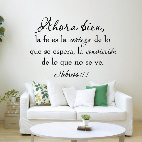 VWAQ Faith is Being Sure of What We Hope Hebrews 11:1 Spanish Wall Quotes Decal - VWAQ Vinyl Wall Art Quotes and Prints