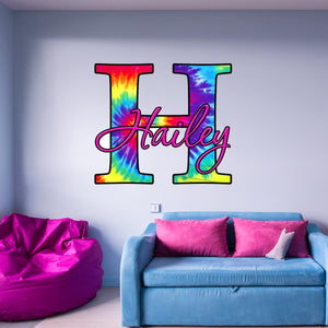 VWAQ Tie Dye Personalized Custom Name Monogram Vinyl Wall Decal - TM4 - VWAQ Vinyl Wall Art Quotes and Prints