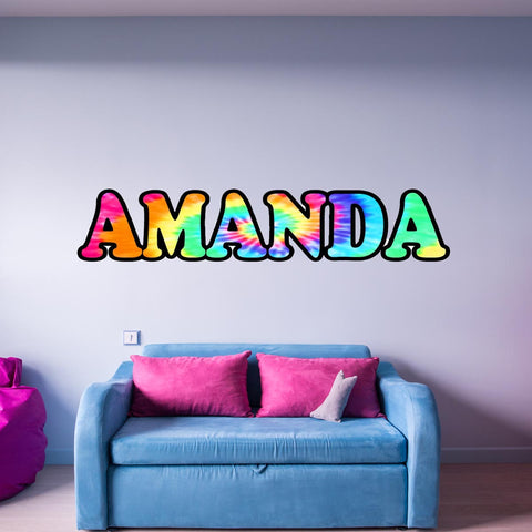 VWAQ Personalized Tye Dye Name Vinyl Wall Decal - TN4 - VWAQ Vinyl Wall Art Quotes and Prints