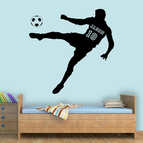 VWAQ Custom Name Soccer Player Wall Decal with Personalized Name and Soccer Ball - TTC10 - VWAQ Vinyl Wall Art Quotes and Prints