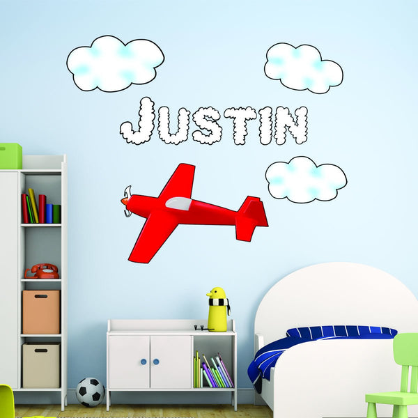 VWAQ Personalized Airplane Wall Decal Customized Boys Name Decal Aviation Decor - TTC11-P