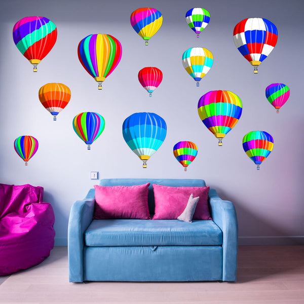 VWAQ Hot Air Balloons Vinyl Wall Decals for Kids Rooms Nursery Stickers Decor 15Pcs - TTC4-P - VWAQ Vinyl Wall Art Quotes and Prints