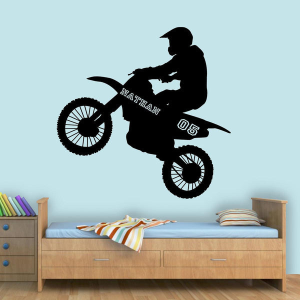 VWAQ Dirt Bike Wall Decals with Name for Boys Room Motocross Wall Sticker - TTC9 - VWAQ Vinyl Wall Art Quotes and Prints