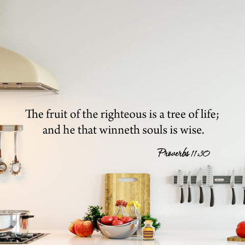 VWAQ The Fruit of Righteousness is a Tree of Life Proverbs 11:30 Bible Wall Decal - VWAQ Vinyl Wall Art Quotes and Prints