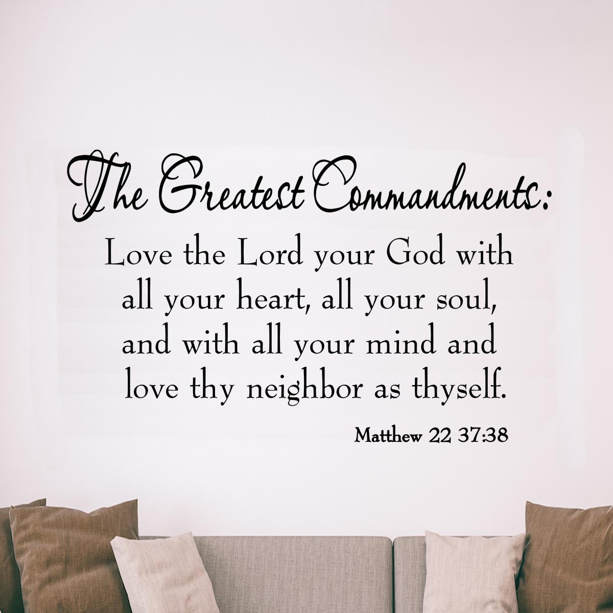 VWAQ The Greatest Commandments Love Thy Neighbor Vinyl Wall art Decal
