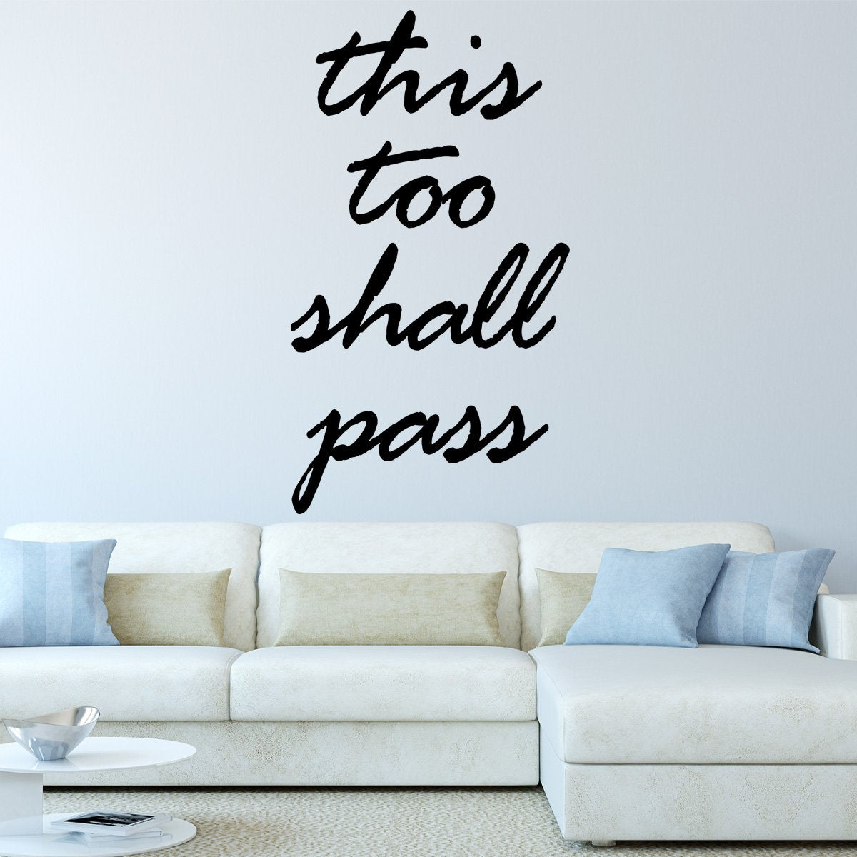 VWAQ This Too Shall Pass, Positive Sayings Uplifting Wall Art Decor Decals -18123