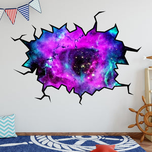 VWAQ Outer Space Galaxy Wall Crack Removable Peel & Stick Mural Decal