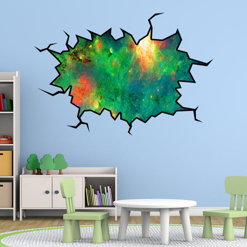 VWAQ Space Nebula Wall Crack Peel & Stick Galaxy Space Removable Decal