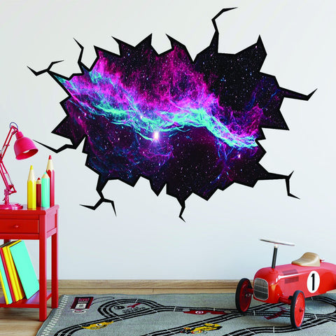 VWAQ Outer Space Wall Decal Universe Sticker Wall Crack Removable Wall Decal - WC4 - VWAQ Vinyl Wall Art Quotes and Prints