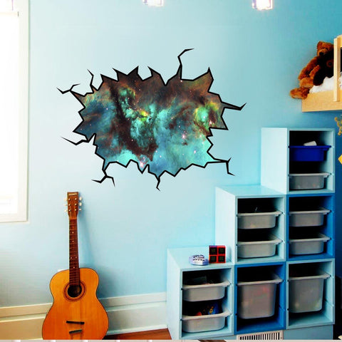 VWAQ Cosmic Wall Decal Outer Space Sticker Cracked Wall Decal Space - WC6 - VWAQ Vinyl Wall Art Quotes and Prints
