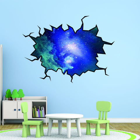VWAQ Wall Crack Outer Space Decal Peel & Stick Wall Removable Wall Art - WC7 - VWAQ Vinyl Wall Art Quotes and Prints