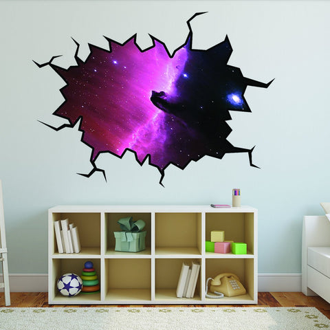 VWAQ Outer Space Wall Decal Nebula Galaxy Sticker Hole In The Wall (VWAQ-WC8)