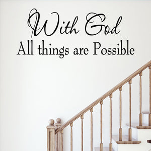 Vwaq With God All Things Are Possible Scripture Wall Quotes