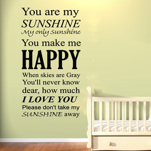 VWAQ You Are My Sunshine My only Sunshine Vinyl Wall art Decal