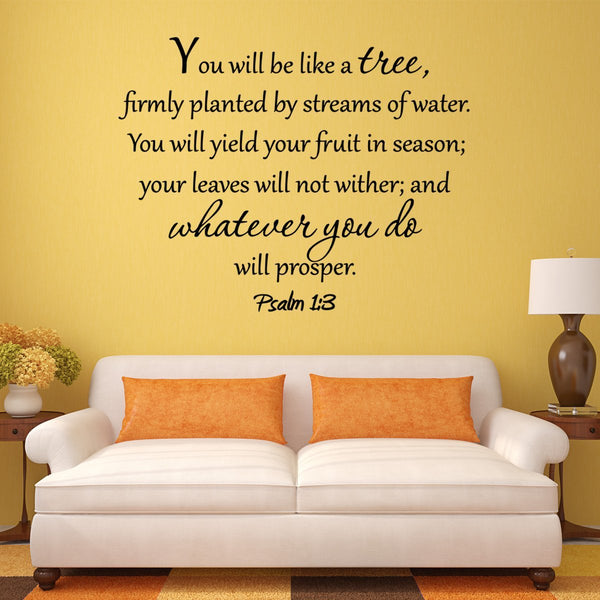 VWAQ You Will Be Like a Tree Firmly Planted By Streams of Water Wall Decal - VWAQ Vinyl Wall Art Quotes and Prints