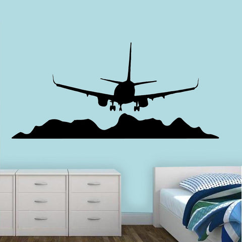 Airplane Mountain Scene Wall Decal