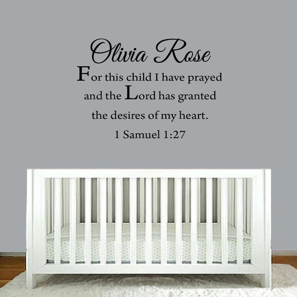 VWAQ For This Child I Have Prayed Custom Name Wall Decal