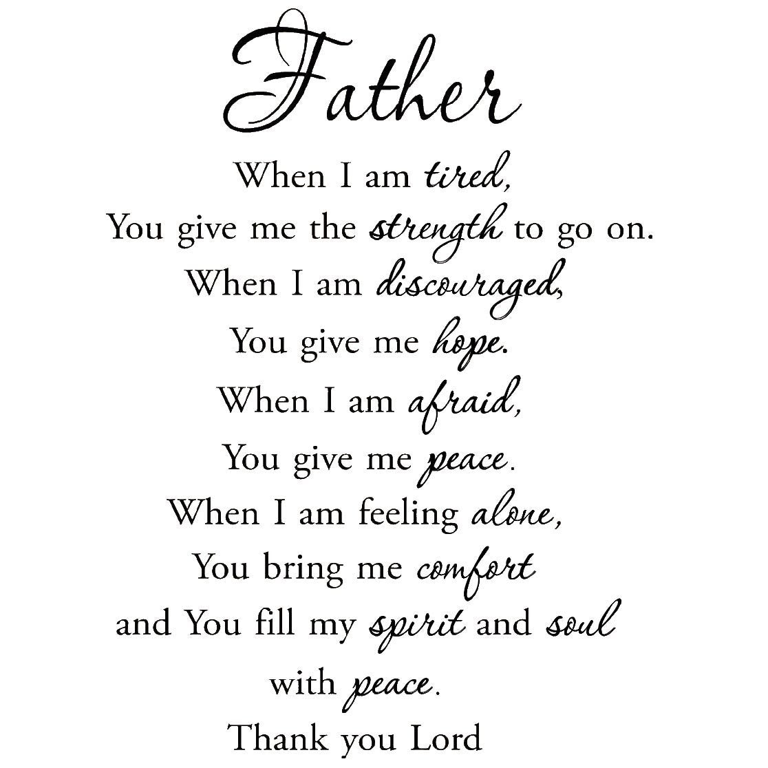 VWAQ Father When I am Tired Faith Quotes Wall Decals - VWAQ Vinyl Wall Art Quotes and Prints