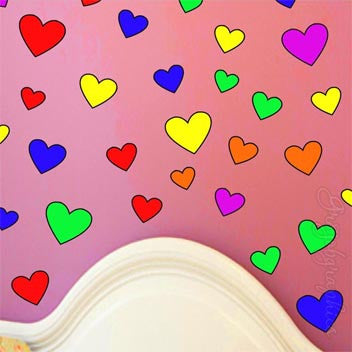 Hearts Wall Decals Rainbow Girls Room Stickers Teen Dorm Peel & Stick GH1 Wall Decal