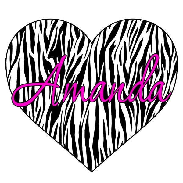 VWAQ Custom Name Zebra Print Heart Decal Personalized Name Zebra Print Wall Art Decor Custom Name - GH2 - VWAQ Vinyl Wall Art Quotes and Prints