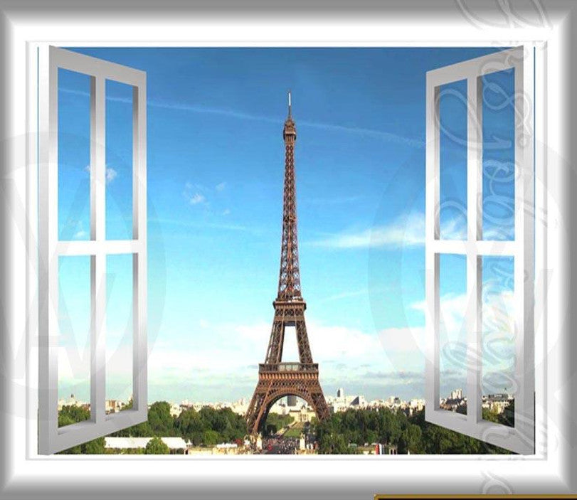 Paris Wall Decal Peel and Stick 3D Wall Decals Window Frame France Eiffel Tower Home Decor GJ01 Wall Decal