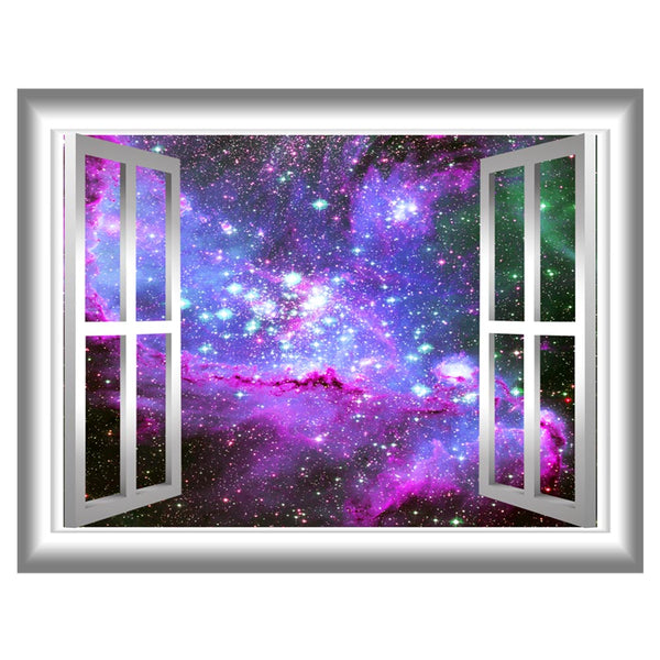 VWAQ Deep Space Window Frame Peel and Stick Vinyl Wall Decal - GJ04 - VWAQ Vinyl Wall Art Quotes and Prints