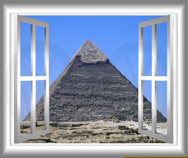 VWAQ Pyramid of Giza Egypt Window Frame View Peel and Stick Vinyl Wall Decal - GJ100 no background