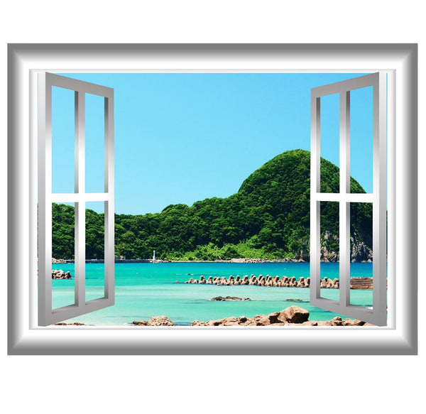 VWAQ Peel and Stick Beach Lagoon with Trees View Window Frame Vinyl Wall Decal - GJ90 no background