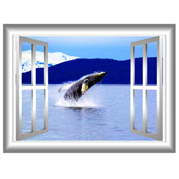 VWAQ Peel and Stick Breaching Humpback Whale Window Frame Scene Wall Decal - GJ95 - VWAQ Vinyl Wall Art Quotes and Prints