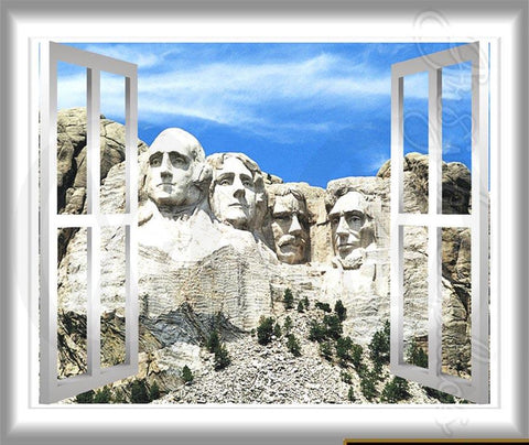 Mount Rushmore Wall Decal Peel and Stick Graphics Window Frame Mural Presidents Sticker VWAQ® GJ97 Wall Decal