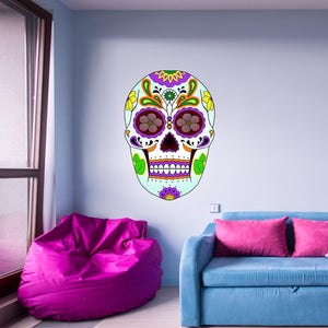 VWAQ Day of the Dead Wall Art Dia De Los Muertos Decor Sugar Skull Wall Murals Candy Skull Stickers Calavera Decal GJG#1 - VWAQ Vinyl Wall Art Quotes and Prints