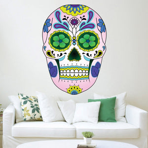 VWAQ Sugar Skull Wall Art Murals Day of the Dead Wall Art Dia De Los Muertos  Candy Skull Decal - GJG2