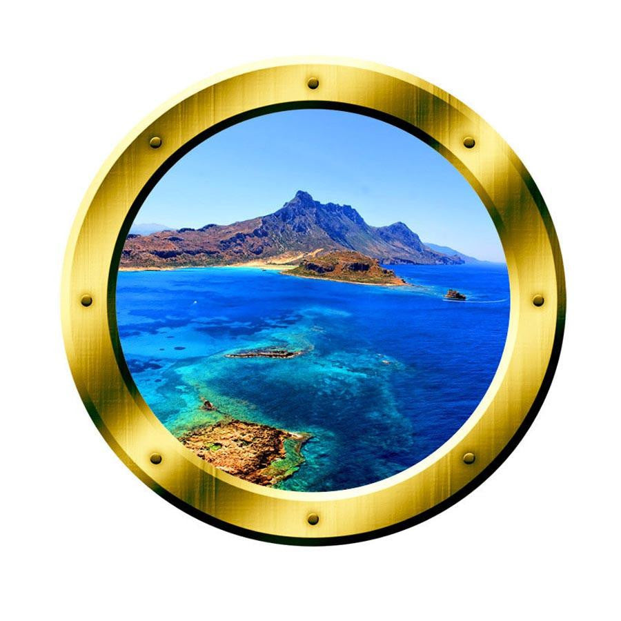 VWAQ Ocean Side Cliff View Gold Porthole Peel and Stick Vinyl Wall Decal - VWAQ Vinyl Wall Art Quotes and Prints no background
