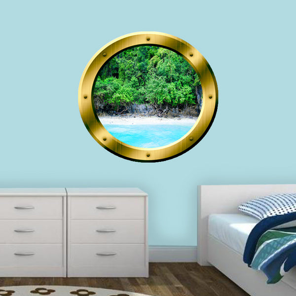 VWAQ Ocean Shoreline Silver Porthole Window View Peel and Stick Vinyl Wall Decal - GP15 - VWAQ Vinyl Wall Art Quotes and Prints