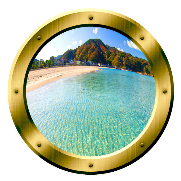 VWAQ Island Scenery Gold Porthole Peel and Stick Vinyl Wall Decal - VWAQ Vinyl Wall Art Quotes and Prints no background
