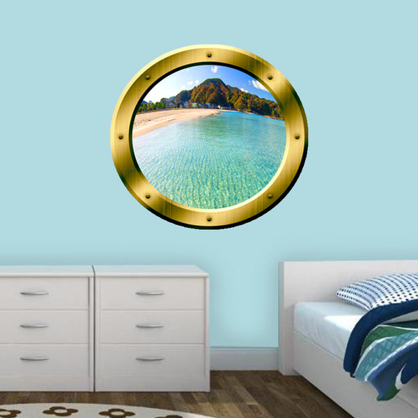 VWAQ Island Scenery Gold Porthole Peel and Stick Vinyl Wall Decal - VWAQ Vinyl Wall Art Quotes and Prints