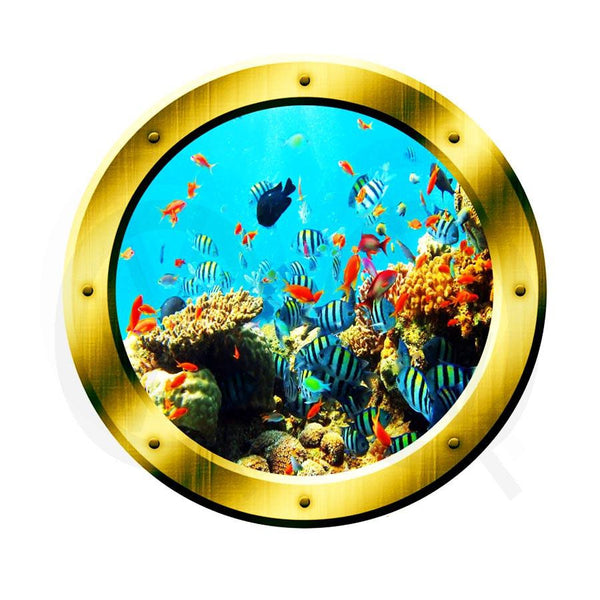 VWAQ Underwater Shool of Fish Gold Window Porthole Peel and Stick Vinyl Wall Decal - GP19 no background