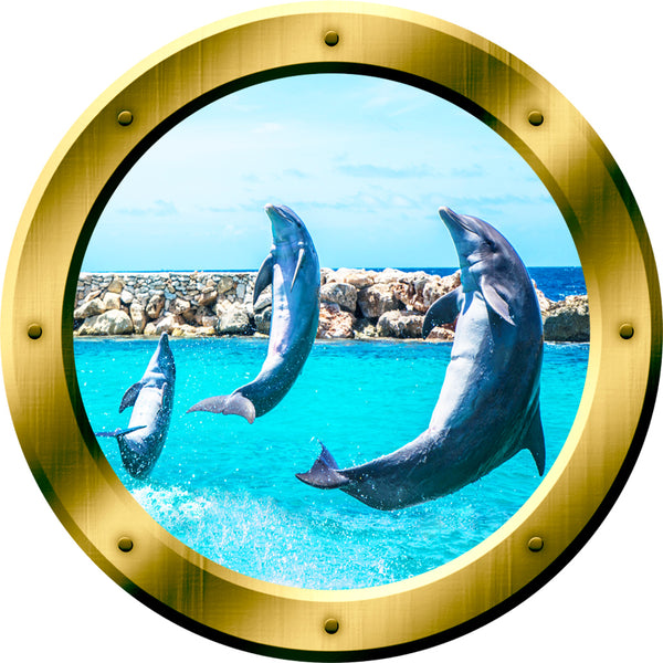 VWAQ Peel and Stick Gold Dolphin Porthole Vinyl Wall Decal - GP26 no background