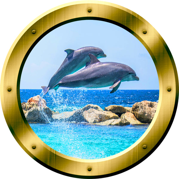 VWAQ 1 Dolphins Wall Sticker Porpoise Porthole 3D Wall Decal Peel And Stick Decor no background