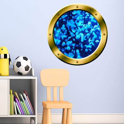 VWAQ Blue Jellyfish Peel and Stick Ocean Life Gold Window Porthole Vinyl Wall Decal - GP28 - VWAQ Vinyl Wall Art Quotes and Prints