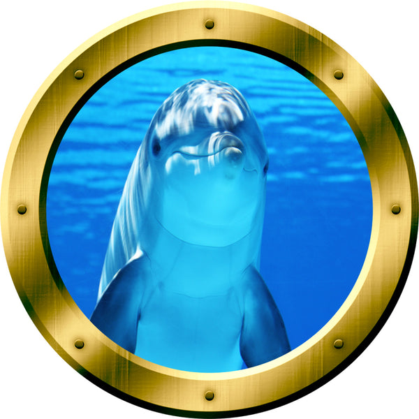 VWAQ Dolphin Gold Peel and Stick Porthole Vinyl Wall Decal - GP29 - VWAQ Vinyl Wall Art Quotes and Prints