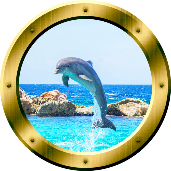 VWAQ 1 X Dolphin Porthole Porpoise Wall Decal 3D Sticker Dolphins Wall Decor no background